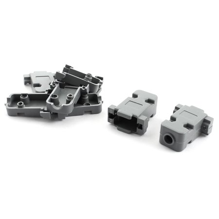 Unique Bargains Gray Plastic DB9 RS232 Female Connector Hood Shell Cover 5Pcs
