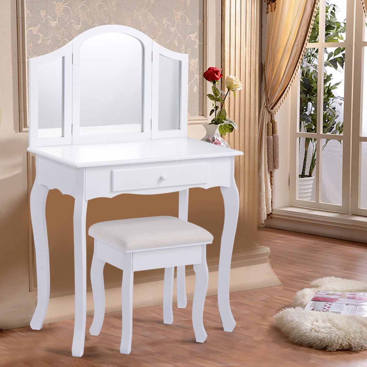 Costway White Tri Folding Mirror Vanity Makeup Table Set Bedroom W Stool & Drawers by Costway
