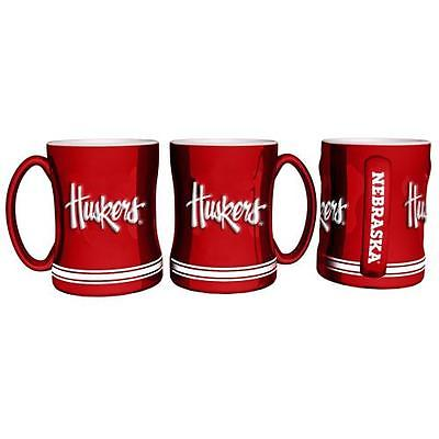 Nebraska Cornhuskers Coffee Mug - 14oz Sculpted Relief - Huskers