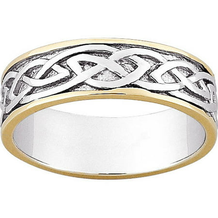 Sterling Silver Two Tone Celtic Wedding Band