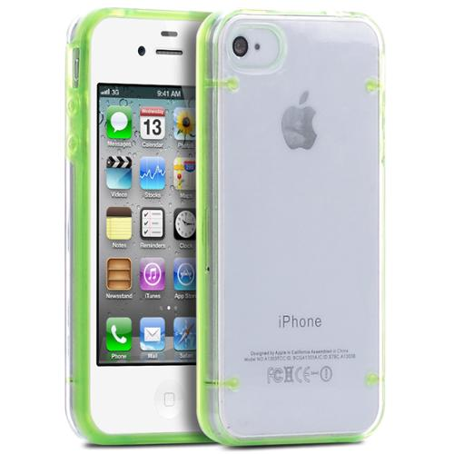 ULAK iPhone 4 4S Case, Bumber Clear Case Cover with Clear Crystal Transparent Hard Rubber Clear Back Panel for iPhone 4 4S (Green)