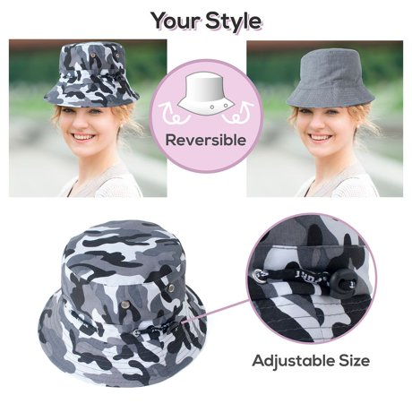 Zodaca men women camouflage unisex summer bucket hats for Fishing hats walmart