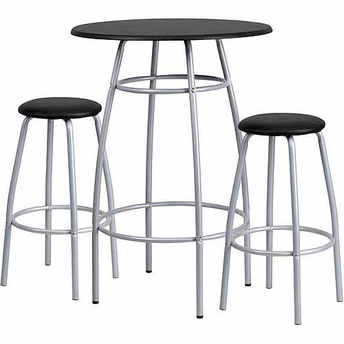 Flash Furniture Bar-Height Table and Stool Set with Bowed-Out Legs, Black