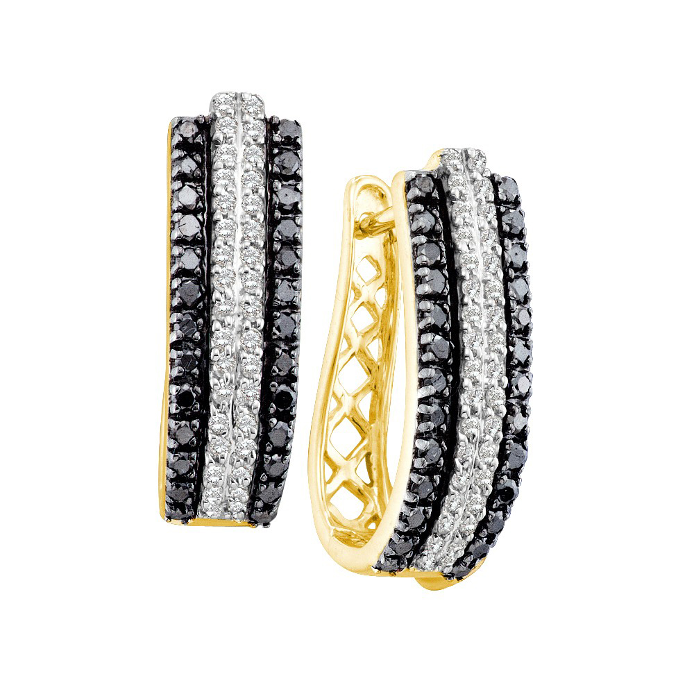 14k Yellow Gold Bold Black Diamond Triple Row Striped Stylish Hoop Earrings  100 Ctw