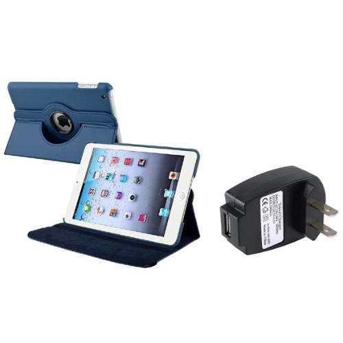 iPad Mini 3/2/1 Case, by Insten For Apple iPad Mini 3rd 3 2nd 1 1st Gen Navy Blue Leather Case Smart Cover Stand+TC