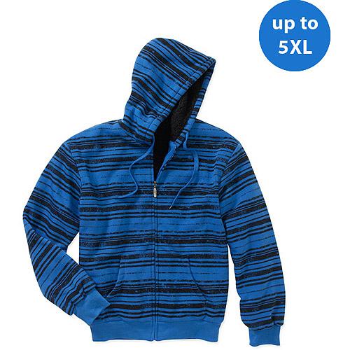 Big Men's Rustic Stripe Fleece Jacket with Sherpa Lining