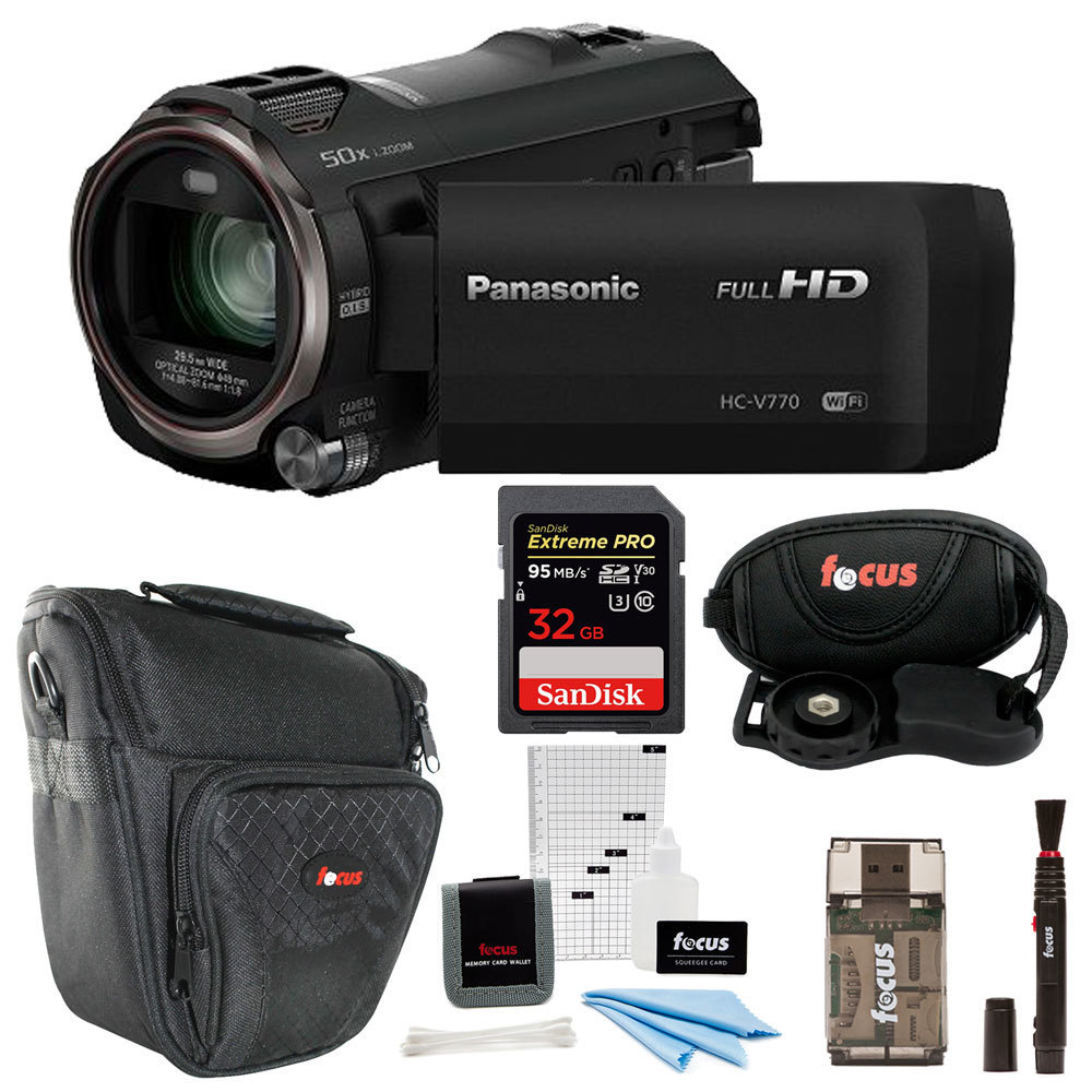 Panasonic HC-V770 HD Camcorder with 32GB SD Card and Focus Accessory Bundle