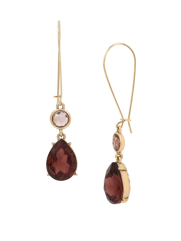 Basic Ears Amethyst and Crystal Drop Earrings