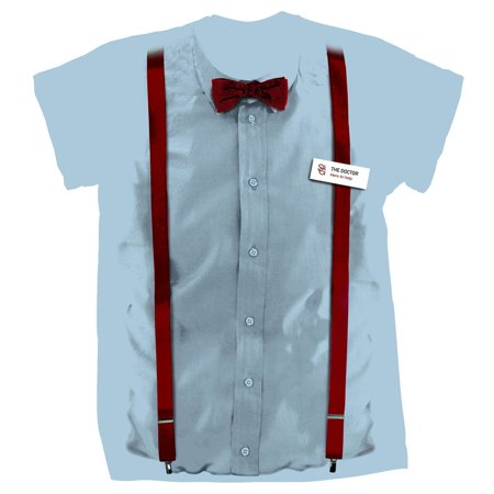 11th Doctor Outfit (Doctor Who 11th Doctor Braces and Name Tag Costume Shirt)