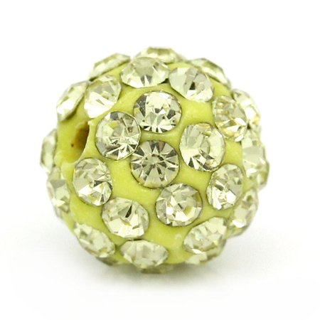 Sexy Sparkles 5 Pcs Champgne Polymer Clay Ball Beads Pave Champagne Rhinestone 10mm