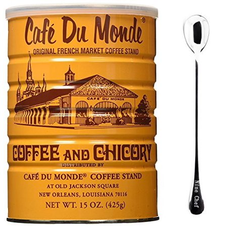 Cafe Du Monde Coffee Chicory 15Oz (6 Pack) + One NineChef Spoon Cafe Du Monde French Coffee