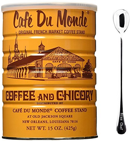 Cafe Du Monde Coffee Chicory 15Oz (2 Pack) + One NineChef Spoon