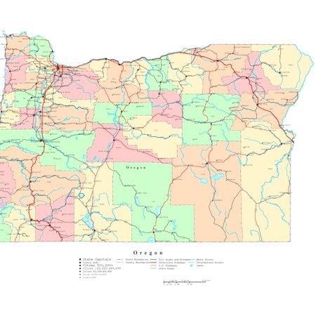 Printable Digital Map (Laminated Map - Printable political Map of Oregon Poster 24 x 36)