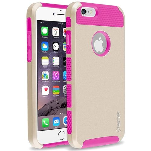 "Insten Hot Pink TPU/Gold Hard Hybrid Cover Case For Apple iPhone 6 6S 4.7"" inches (2-Piece Shockproof Dual Layer Style)"