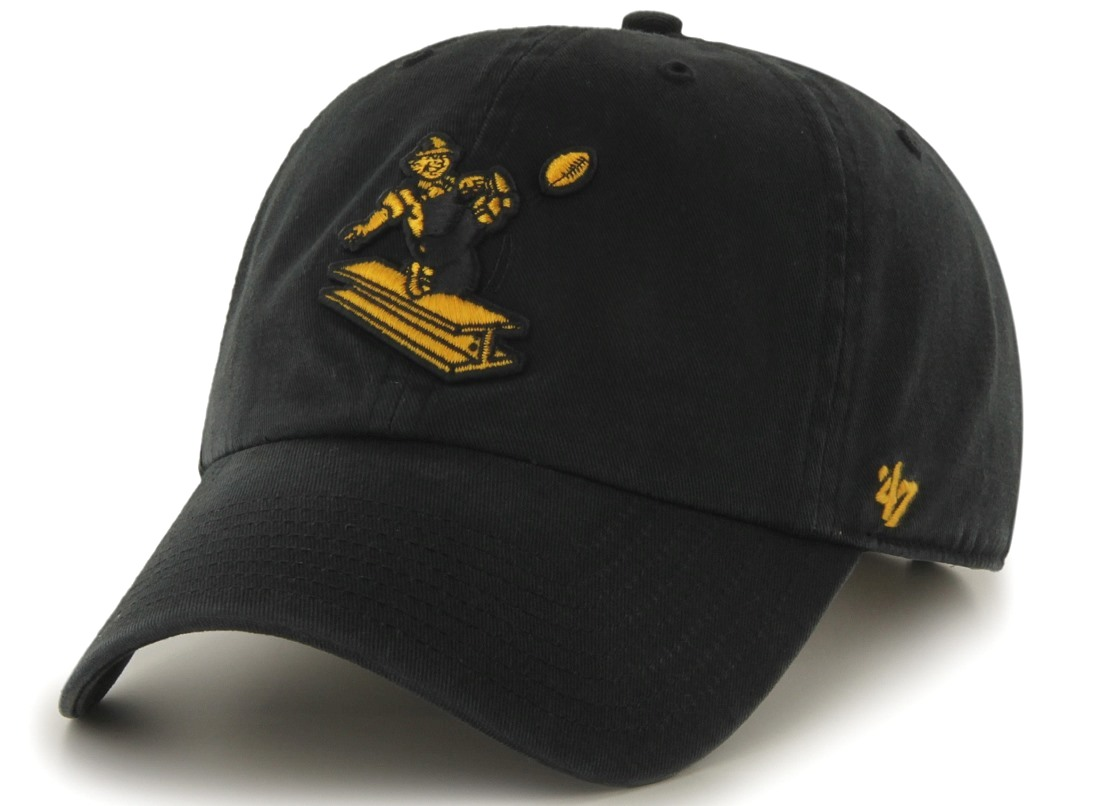 60269211b08b65 ... czech pittsburgh steelers 47 brand nfl black throwback clean up  adjustable hat 5c33e 161df