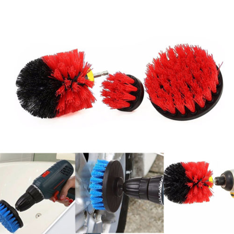 3Pcs Tile Grout Power Scrubber Cleaning Brushes Cleaner Set For Electric Drills Yellow