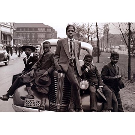 Sunday Best - Chicago Boys Easter Sunday 1941 by Russell Lee 36x24 Photographic Art Print Poster Black Urban Youth on Car Southside