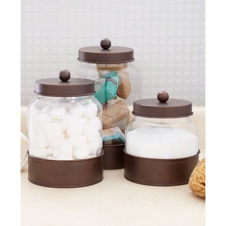 Glass Storage Canister - Set of 3 Country Glass Canisters -