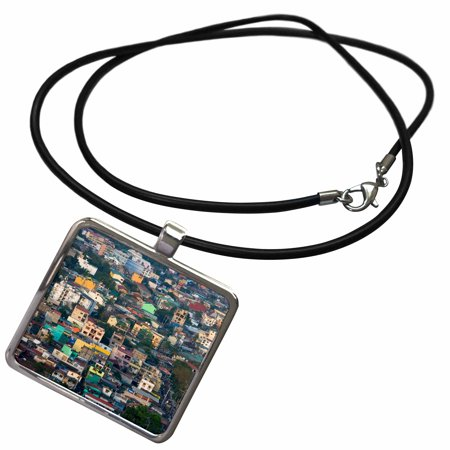 3dRose Aerial view of colorful houses, Manila, Philippines - AS29 KSU0068 - Keren Su - Necklace with Pendant (ncl_132910_1) ()