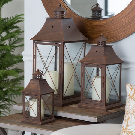 Magnolia Bronze Metal Lanterns - Set of 3