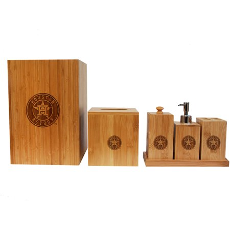 MLB Houston Astros Engraved Bamboo Bathroom Set by