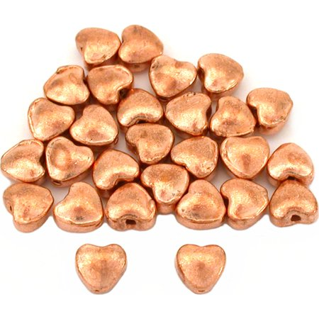 15g Heart Beads Copper Plated Beading 6mm Approx 25