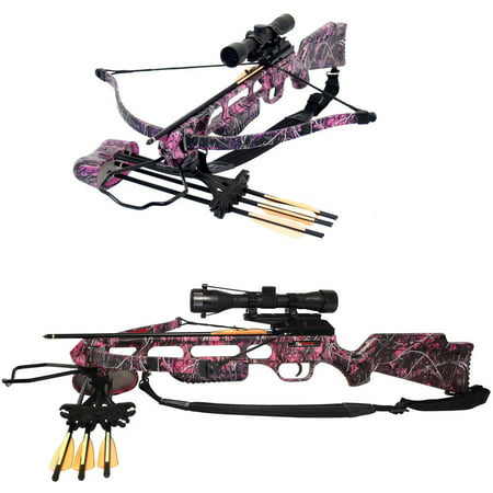150 Crossbow Package (SA Sports Fever Muddy Girl Crossbow Package, 175 lb, Pink)