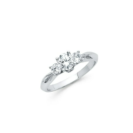 3 Stone Cz Rings (FB Jewels 925 Sterling Silver Knife Edge Trellis 3 Stone Round CZ Cubic Zirconia Engagement Ring Size 5.5 )