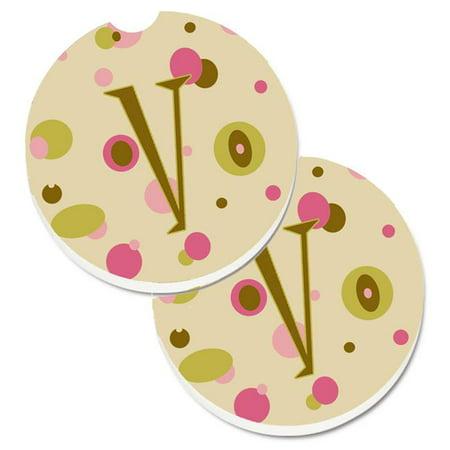 Letter V Initial Monogram Tan Dots Set of 2 Cup Holder Car -