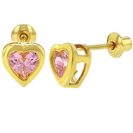 cf92c6fba In Season Jewelry - 18k Gold Plated Pink CZ Heart Screw Back Girls Earrings  Babies Toddlers - Walmart.com