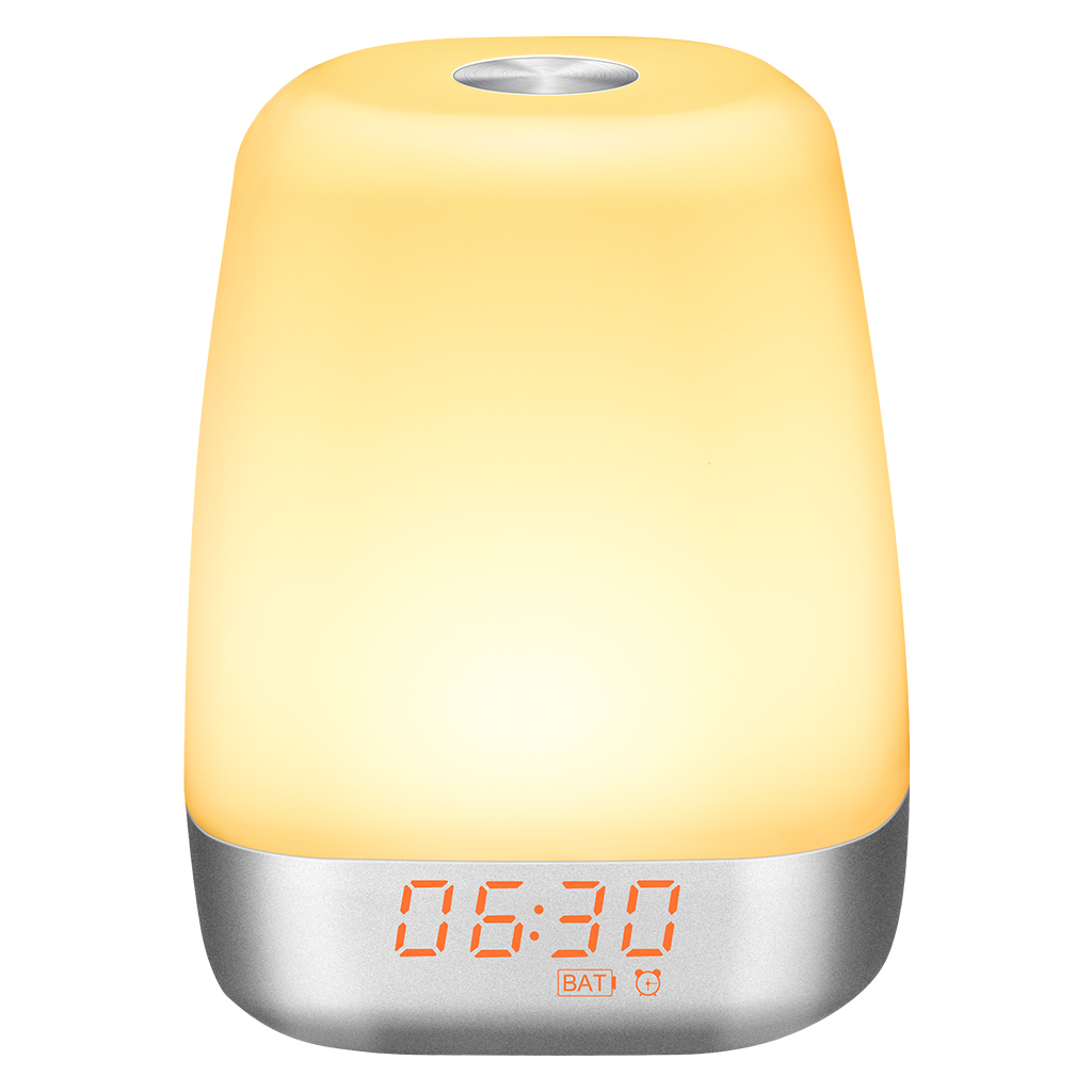 Kids Night Light Dimmable USB Rechargeable Wake Up Digital Alarm Clock with Snooze Children Sleep Trainer Touch Control