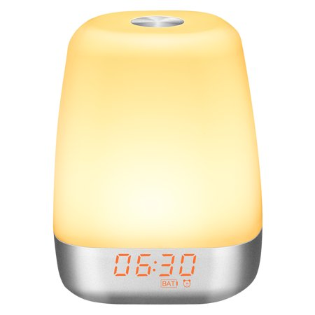 Wake up Light Alarm Clock,Finether Sunrise Alarm Clock with 5 Nature Sounds,USB Rechargeable Touch Control Atmosphere Lamp Multicolor Dimmable Night Light for