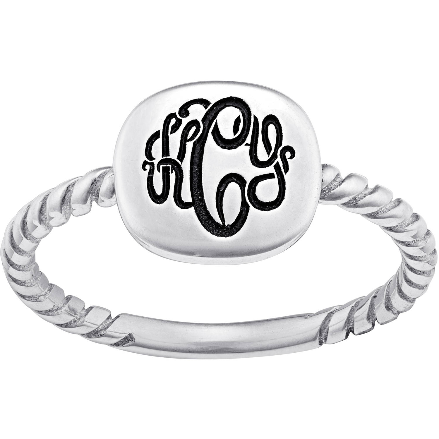 Personalized Women's Sterling Silver Square Monogram Signet Ring