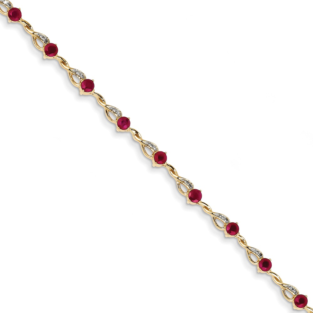 14k Yellow Gold Diamond and Ruby Bracelet. Carat Wt- 0.1ct. Gem Wt- 2.45ct