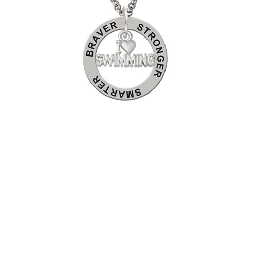 I Heart Swimming Stronger Braver Smarter Affirmation Ring Necklace by Delight and Co.