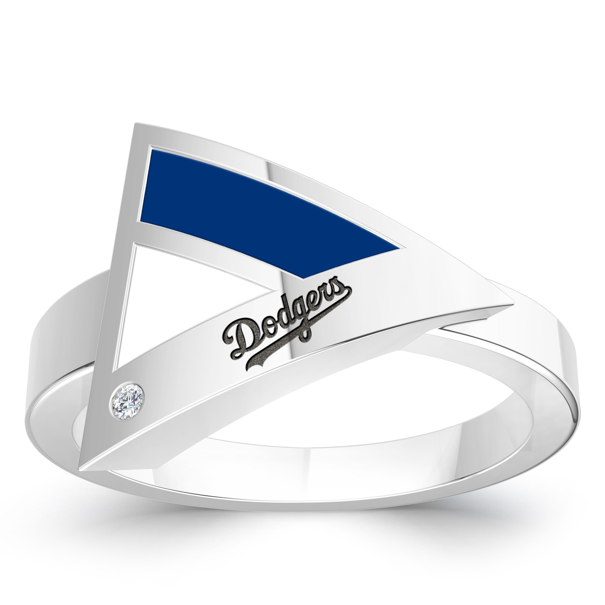 Los Angeles Dodgers Engraved Sterling Silver Diamond Geometric