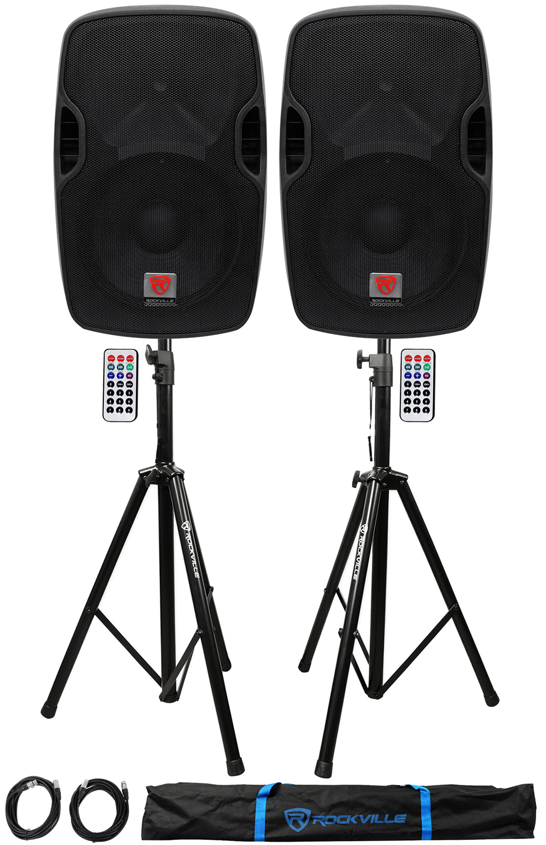 "2) Rockville BPA12 12"" Powered 600W DJ PA Speakers w Bluetooth+Stands+Cables+Bag by ROCKVILLE"
