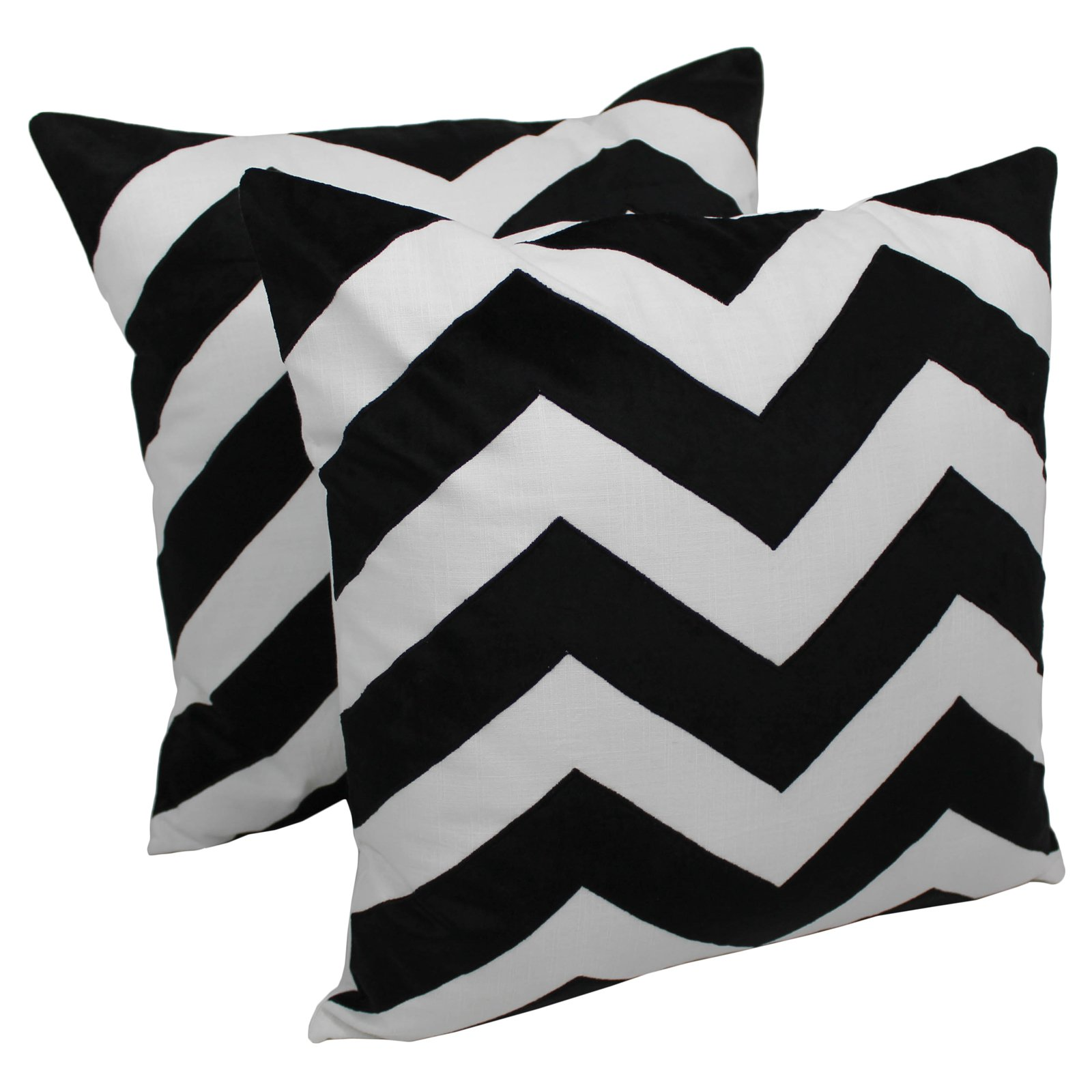 Blazing Needles 20 x 20 in. Indian Chevron Velvet Applique Throw Pillow - Set of 2
