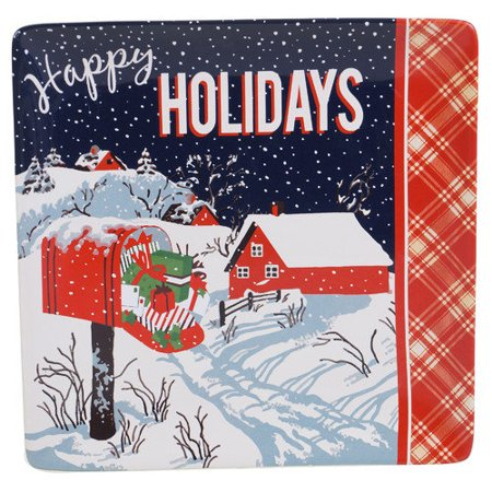 Certified International  Retro Christmas Ceramic 12.5-inch Square Platter (Christmas Fruit Platter)