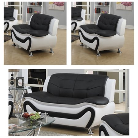 Super Frady Black And White Faux Leather Modern Living Room Loveseat And 2 Chair Set Caraccident5 Cool Chair Designs And Ideas Caraccident5Info