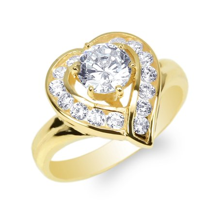 Ladies Yellow Gold Plated 0.8ct Round CZ Heart Shaped Solitaire Ring Size 4-10