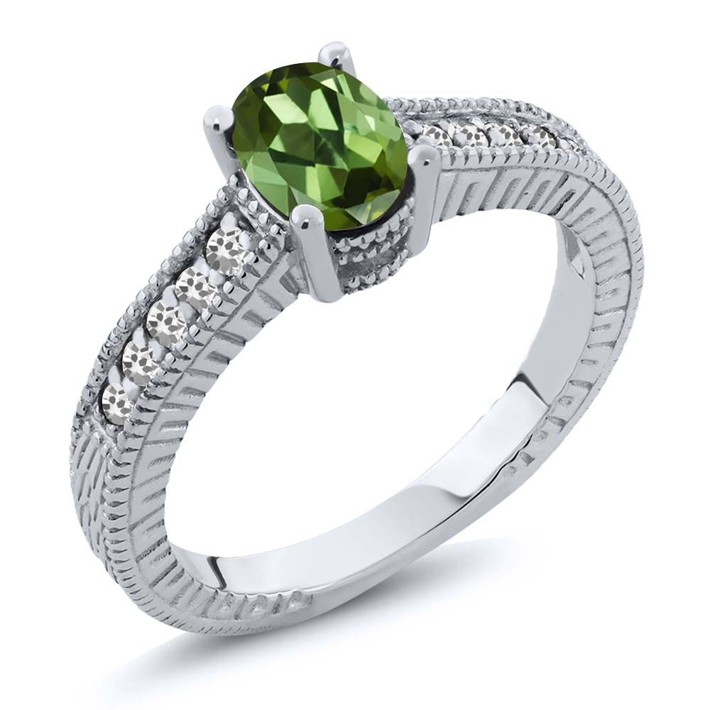 1.07 Ct Oval Green Tourmaline White Sapphire 14K White Gold Engagement Ring by
