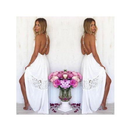 MarinaVida Womens Boho Halter Backless Floral Party Evening Long Maxi Dress Beach (Floral Halter Sundress)