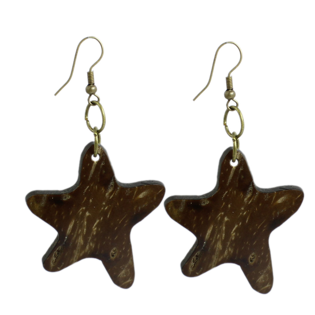 Girls Brown Wooden Star Shaped Decor Fish Hook Earrings Pair