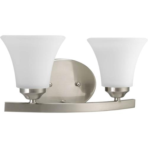 Progress Lighting  Silvertone Adorn Collection 2-light Brushed Nickel Bath Light