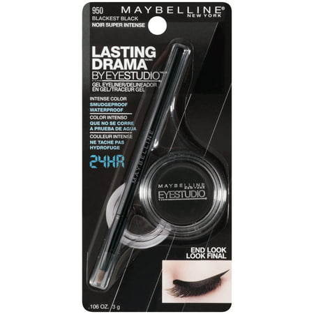 Maybelline New York Eye Studio Lasting Drama Gel Eyeliner, Blackest (Dangle Eyebrow)