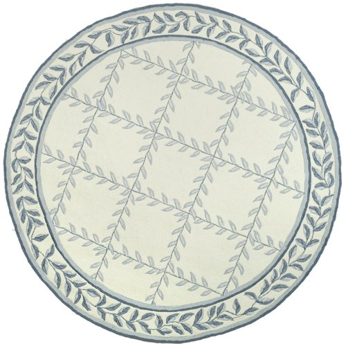 Area Round Rug in Ivory and Light Blue (6 ft. Dia.)