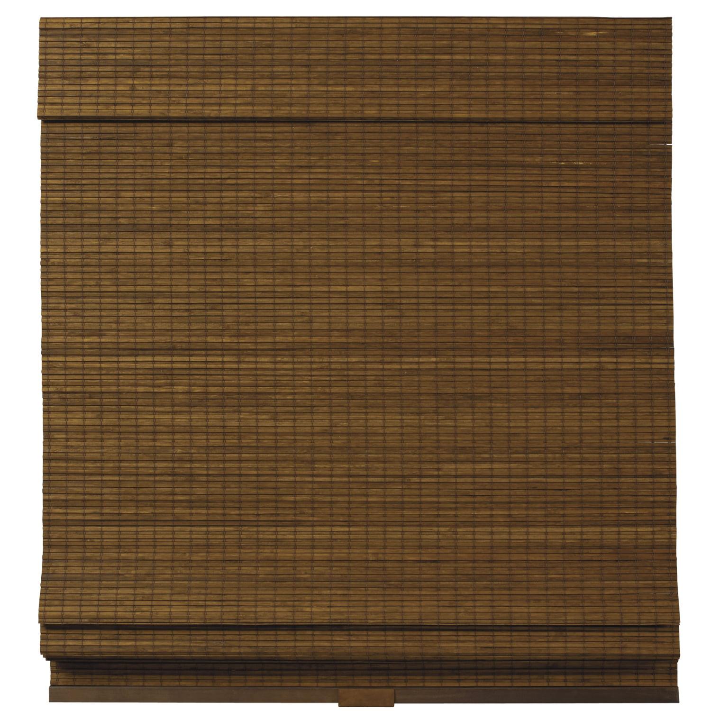 "Brown Cordless Zig-Zag Bamboo Roman Shades 35"" W x 64"" L"