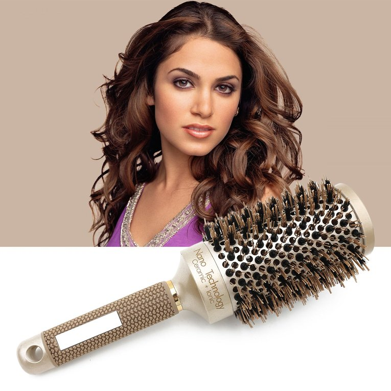Ceramic Aluminium Hair Comb Round Brush Nylon & Bristle Hairdressing Brush