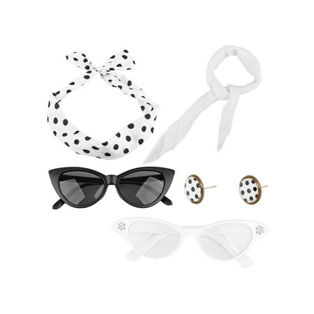 Spooktacular 50's Costume Accessories Set Scarf Eye Glasses Headband (50's Girl Costume Accessories)